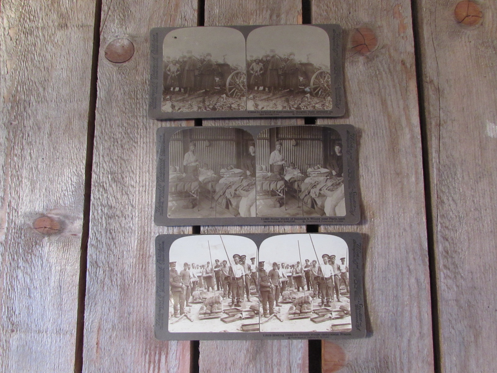 3x stereoscope card images (WW1)