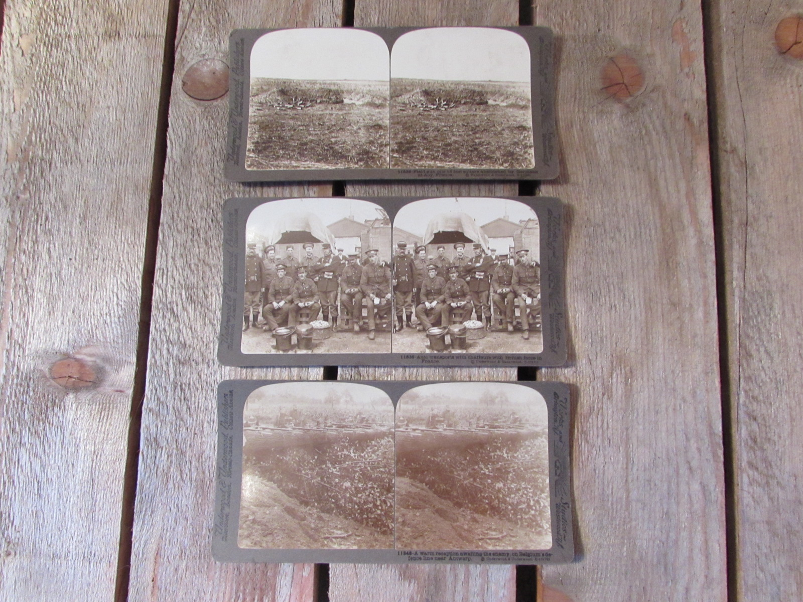 3x stereoscope card images WW1